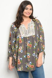 C71-A-4-T12344X GRAY FLORAL PLUS SIZE TOP 3-2-1