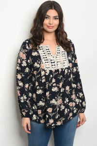 C49-A-1-T11492X NAVY FLORAL PLUS SIZE TOP 3-4