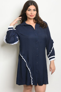 S3-7-3-D59182X NAVY WHITE PLUS SIZE DRESS 2-2-2