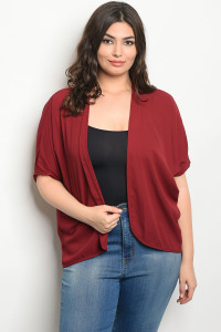 C19-B-3-C10526X BURGUNDY PLUS SIZE CARDIGAN 2-2-2