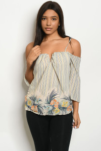 126-3-1-T9749 CREAM MULTI TOP 2-3-2