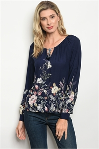 126-3-1-T9447 NAVY FLORAL TOP 2-1-1