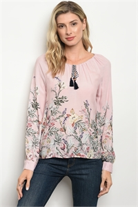 S10-11-2-T9447 PINK FLORAL TOP 2-2-2