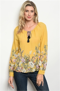 126-3-1-T9447 YELLOW FLORAL TOP 2-1-2