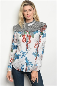 S8-1-1-T9445 WHITE FLOWER PRINT TOP 2-2-2