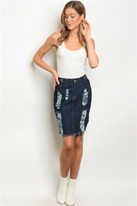 S11-12-2-S1605 DARK BLUE DENIM SKIRT 2-2-2