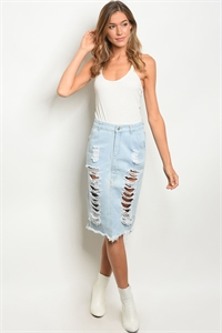 S15-10-2-S1602 LIGHT BLUE DENIM SKIRT 1-3-2