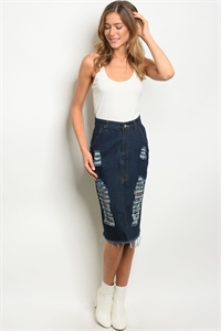 S15-10-2-S1602 DARK BLUE DENIM SKIRT 1-2-2