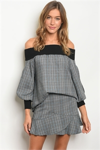 S15-10-2-SET1002 GRAY BLUE TOP & SKIRT SET 1-2-2