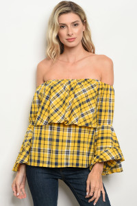 S8-2-2-T048 YELLOW NAVY CHECKERED TOP 2-2-2
