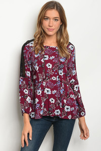 122-2-2-T291802 BERRY FLOWER PRINT TOP 2-1