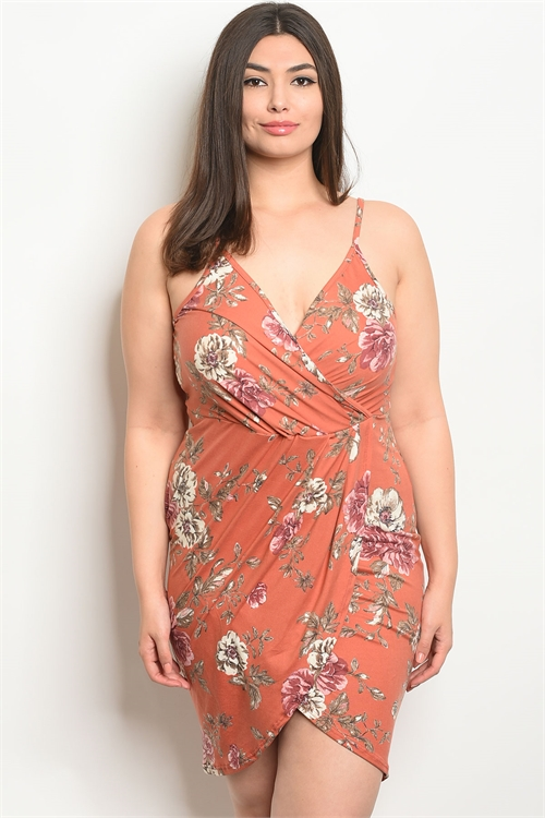 C101-A-1-D1230X TANGERINE FLORAL PLUS SIZE DRESS 2-2-2