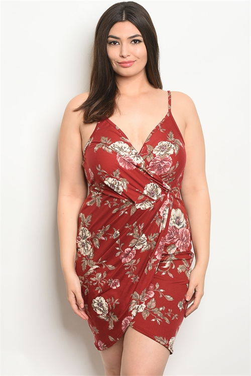C101-A-4-D1230X MAROON FLORAL PLUS SIZE DRESS 2-2-2