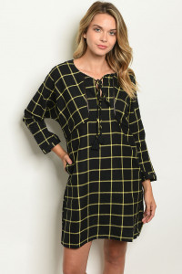 S14-7-1-D9733 BLACK YELLOW CHECKERED DRESS 1-2-2
