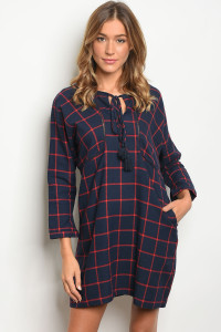 S14-7-1-D9733 NAVY RED CHECKERED DRESS 2-3