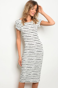 S8-4-5-D9495 IVOR BLACK STRIPES DRESS 2-2-2