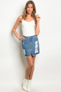 S16-12-1-S0001 DARK BLUE DENIM SKIRT 3-2-2