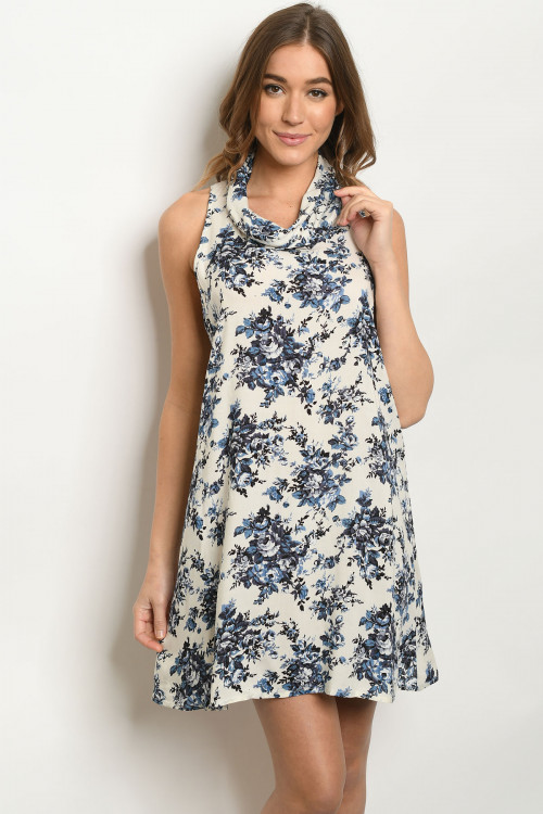 110-4-1-D21093 CREAM BLUE DRESS 3-2-1