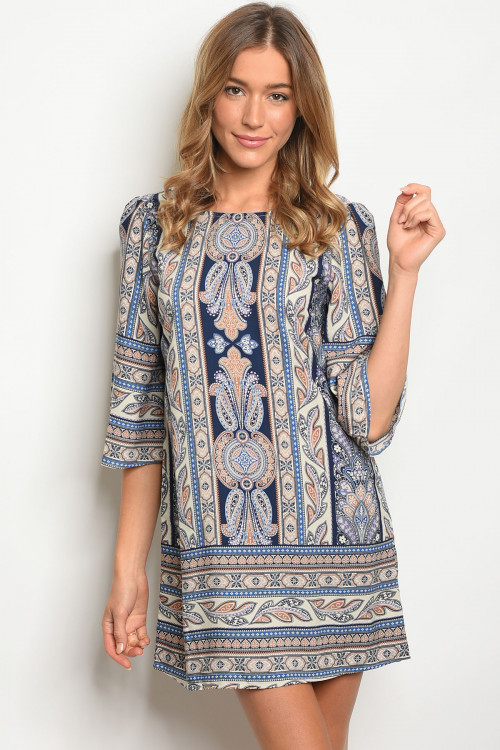 S19-3-4-NA-D18515 NAVY TAUPE PRINT DRESS 2-2-2