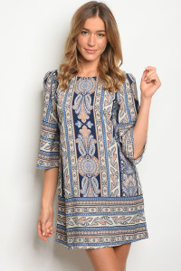 108-5-1-NA-D18515 NAVY TAUPE PRINT DRESS 2-3-1