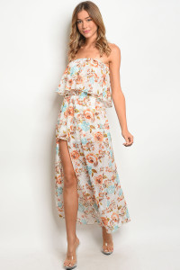 C61-A-2-RD10926 OFF WHITE FLORAL ROMPER DRESS 2-2-2