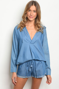 134-2-2-NA-SET73998 DENIM BLUE TOP & SHORTS SET 2/SETS