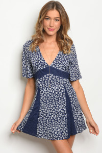 134-2-2-NA-D74140 NAVY WHITE FLORAL DRESS 4-2-1