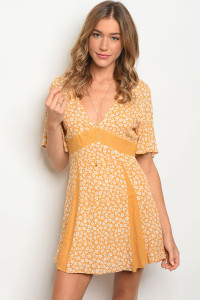 S16-12-1-NA-D74140 MUSTARD WHITE FLORAL DRESS 3-2-1