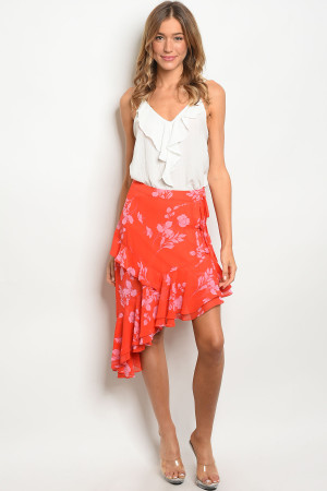 S16-10-6-NA-S74332 RED FLORAL SKIRT 3-2-1