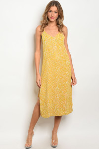 133-2-1-NA-D713119 YELLOW WHITE DRESS 1-2-2-1