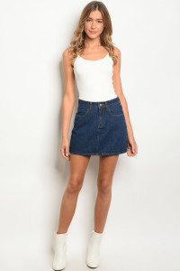 134-2-2-NA-S712814 BLUE DENIM SKIRT 1-3-2-1
