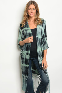 134-2-1-C4373 MINT BLACK TIE DYE CARDIGAN 3-2-2