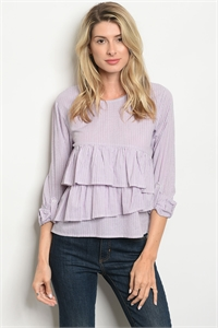 S24-3-2-T1003 PINK WHITE STRIPES TOP 2-2-2