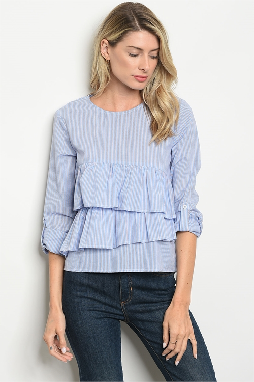 S24-3-3-T1003 BLUE WHITE STRIPES TOP 2-2-2