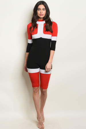 Y-B-J10231 RED BLACK JUMPSUIT 3-2-1