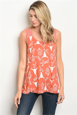 C12-B-4-T4781 EARTH BULL PRINT TOP 2-2-2