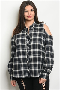 S17-7-1-T9252X NAVY BLACK CHECKERED PLUS SIZE TOP 2-2-2