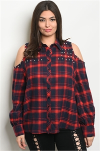 S17-7-2-T9252X RED NAVY CHECKERED PLUS SIZE TOP 2-2-2