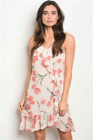 S17-8-3-D1280 CREAM PEACH FLORAL DRESS 3-2-1