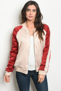 S9-11-2-NA-J60438 SAND BURGUNDY WITH FLOWERS BOMBER JACKET 3-2-1