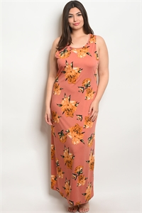 C53-A-5-D9219X MAUVE FLORAL PLUS SIZE DRESS 2-2-2