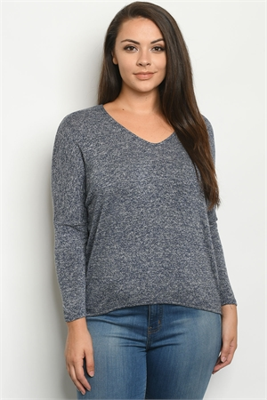 C41-B-2-S9747X NAVY PLUS SIZE SWEATER 2-2-2