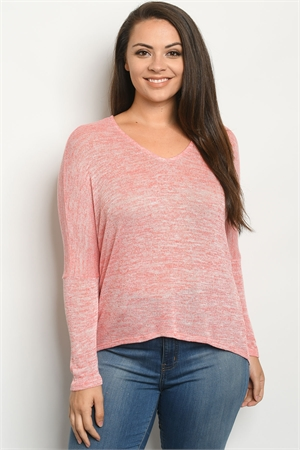 C37-B-2-S9747X CORAL PLUS SIZE SWEATER 2-2-2