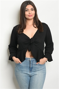 C33-B-3-T9667X BLACK PLUS SIZE TOP 2-2-2