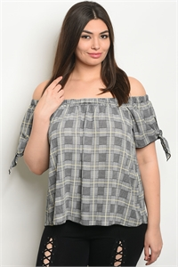 C25-B-2-T00791X GRAY YELLOW CHECKERED PLUS SIZE TOP 2-2-2