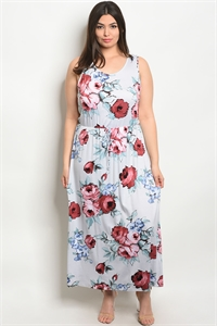 C14-A-5-D9151X OFF WHITE FLORAL PLUS SIZE DRESS 2-2-2