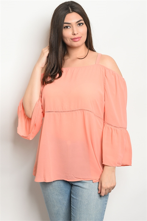 S21-1-1-T8865X CORAL PLUS SIZE TOP 2-2-2