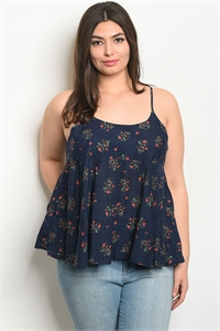 134-2-5-T9407X NAVY FLORAL PLUS SIZE TOP 2-2-2