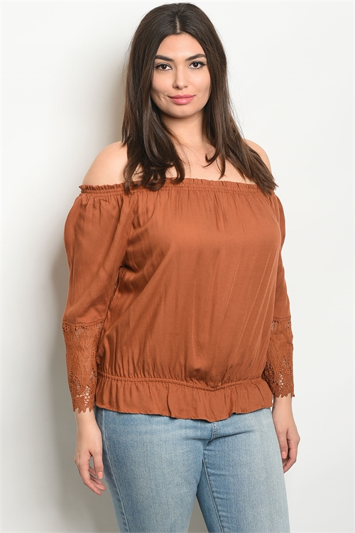 110-3-1-T9435X CAMEL PLUS SIZE TOP 2-2-2
