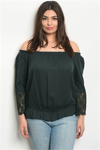 110-3-1-T9435X GREEN PLUS SIZE TOP 2-2-2